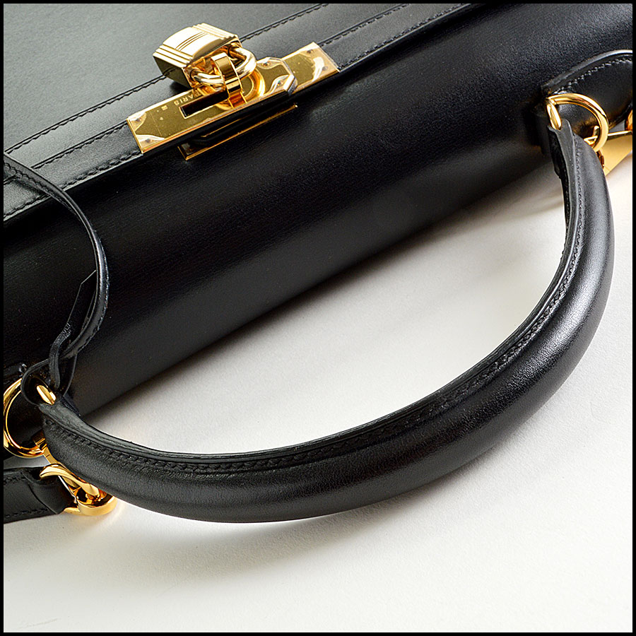 RDC7897 Hermes Black Box leather sellier kelly handle