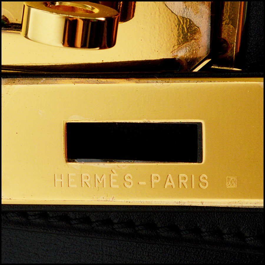 RDC7897 Hermes Black Box leather sellier kelly tag one