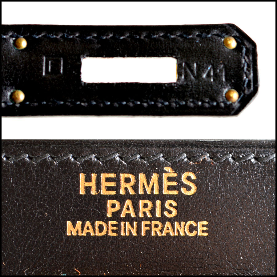 RDC7897 Hermes Black Box leather sellier kelly tag two