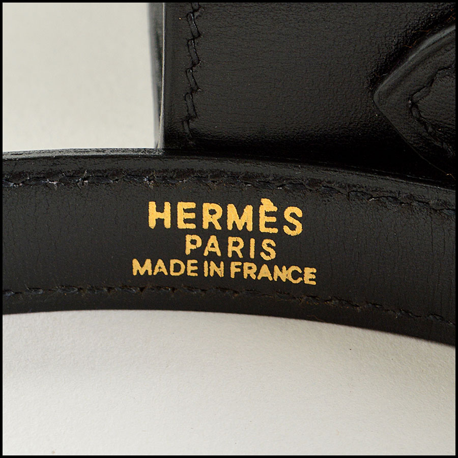 RDC7897 Hermes Black Box leather sellier kelly tag four
