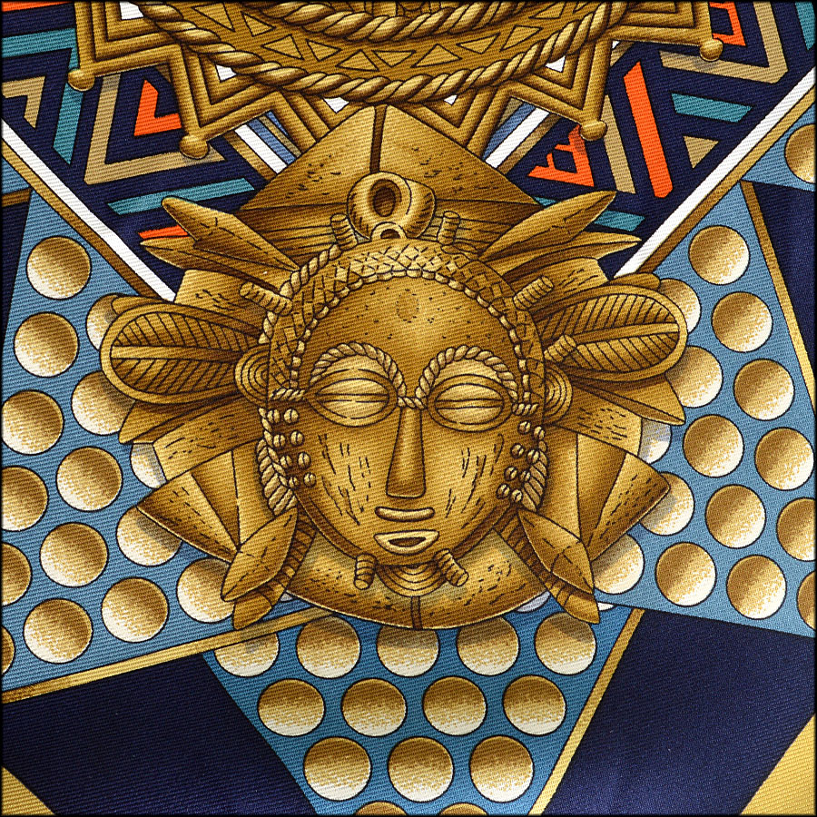 RDC7703 Hermes L'Or Des Chefs 90cm Silk Twill Scarf Close up