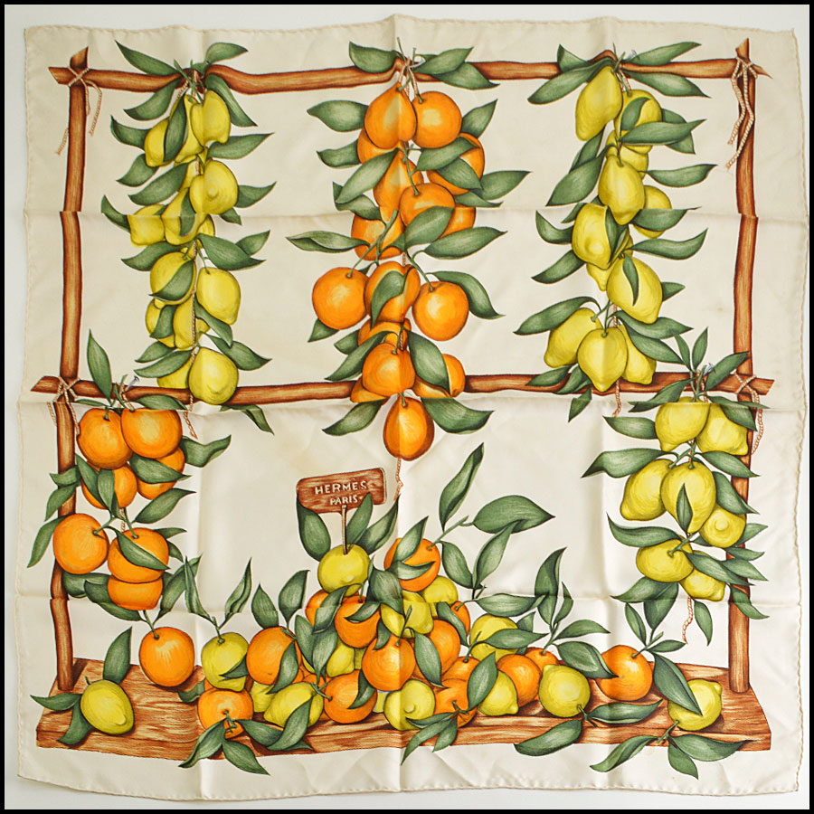 RDC8623 Hermes Ivory Citrus Fruits Stand Scarf