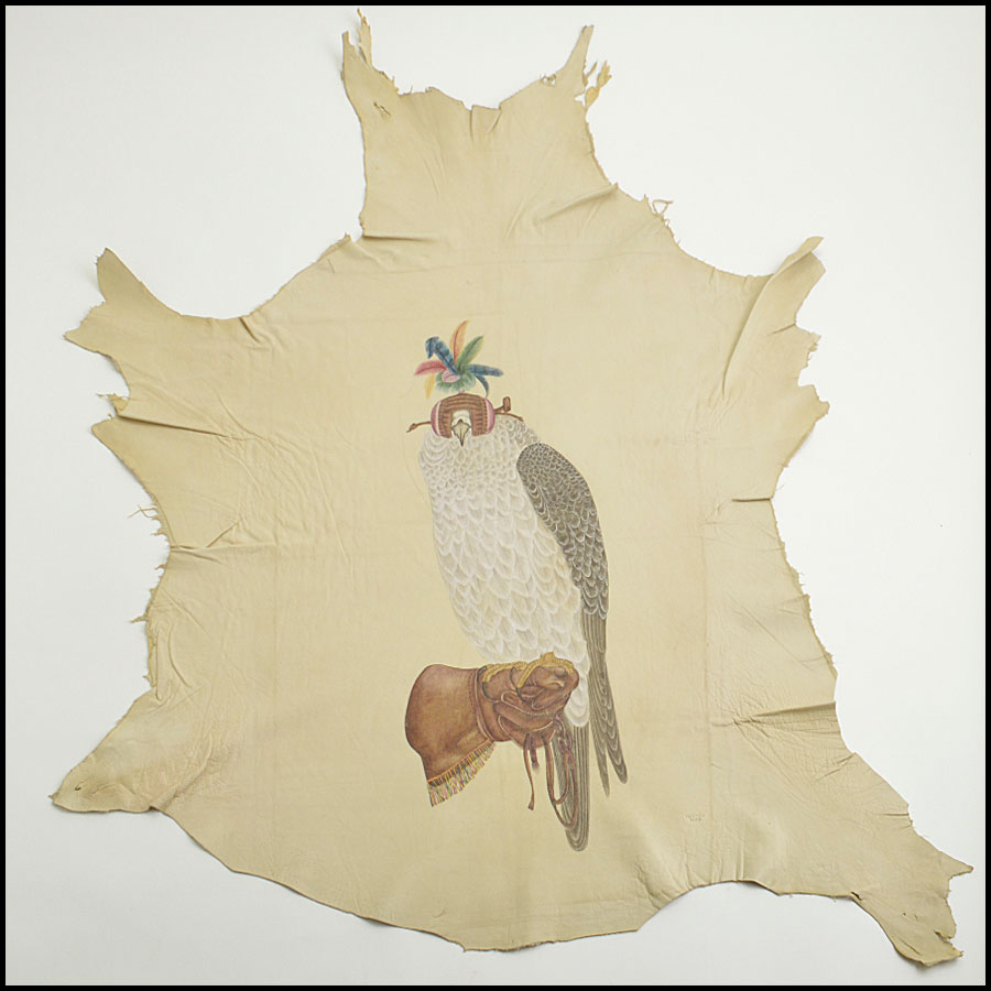 RDC8895 Hermes Falcon Painting on Goatskin Leather Hide
