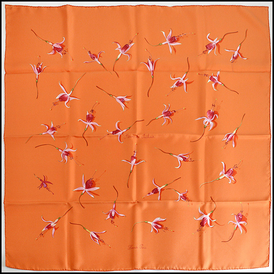 Hermes Orange Fleurs de Fuchsia Scarf Authentic