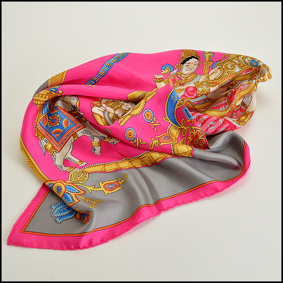 Hermes India 90cm Silk Twill Scarf Fold 2