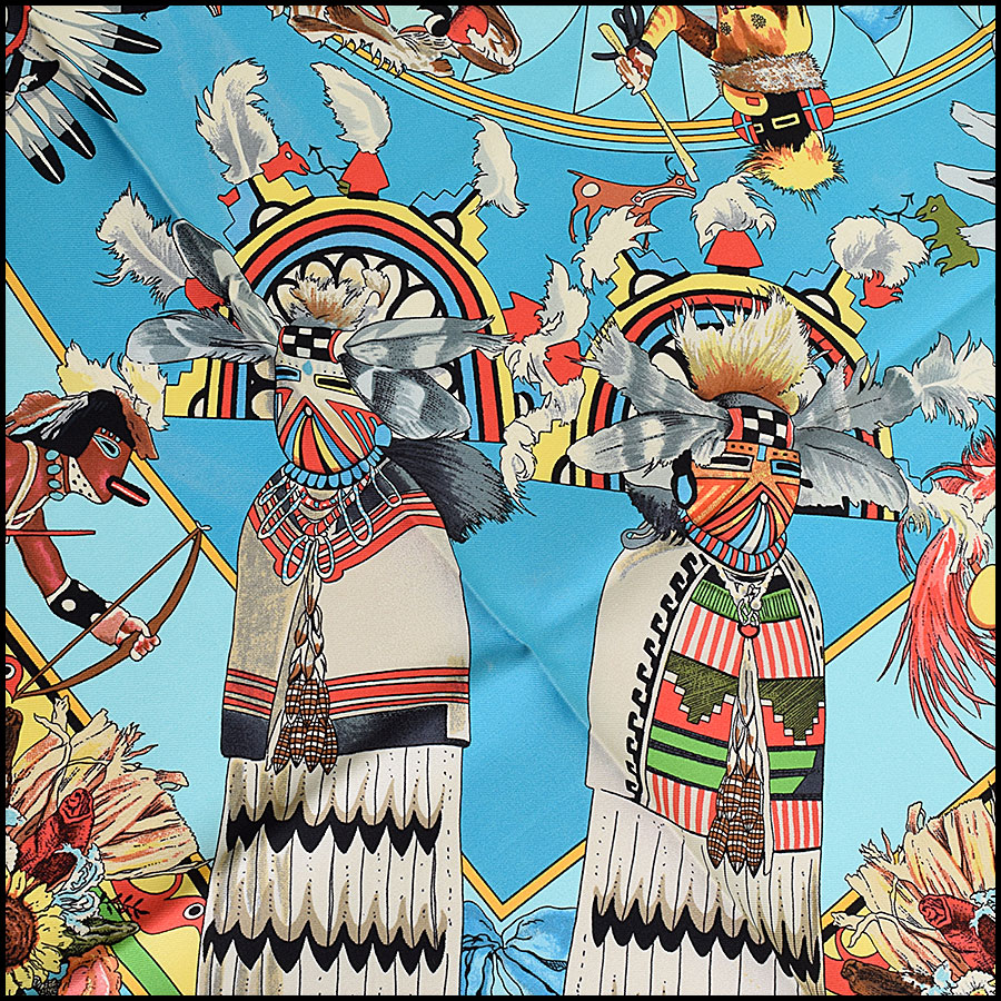 RDC9508 Hermes Turquoise Kachinas 90cm Silk Scarf by Kermit Oliver  close up
