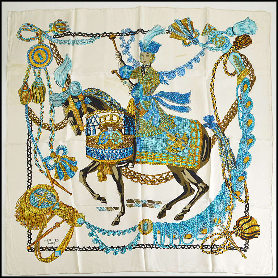 RDC8624 Hermes Ivory and Blues Le Timbalier Scarf