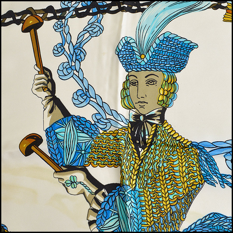 RDC8624 Hermes Ivory and Blues Le Timbalier Scarf close up two