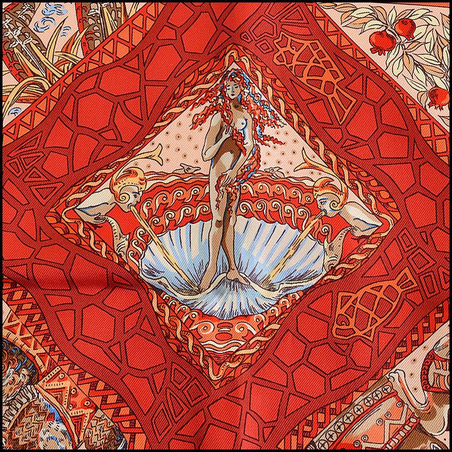 RDC7824 Hermes Navy and Red Mare Nostrum 90cm Silk Twill Scarf Close up