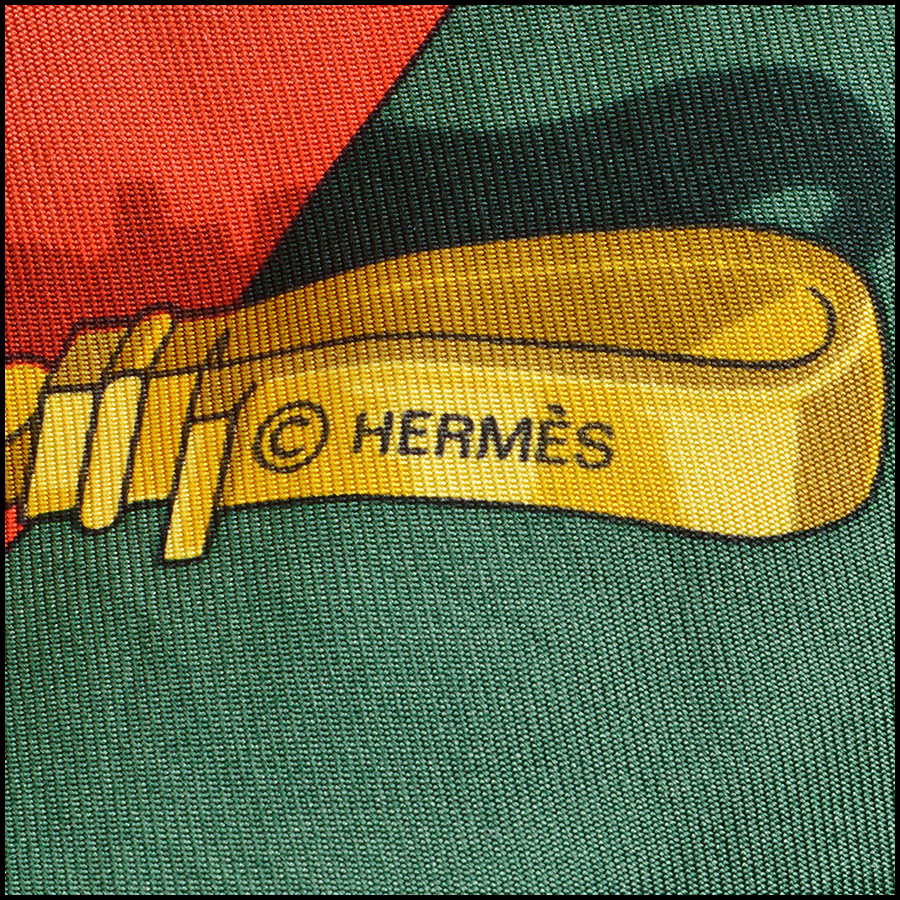 RDC8631 Hermes Memoire D'Hermes Caty Latham silk twill scarf tag two