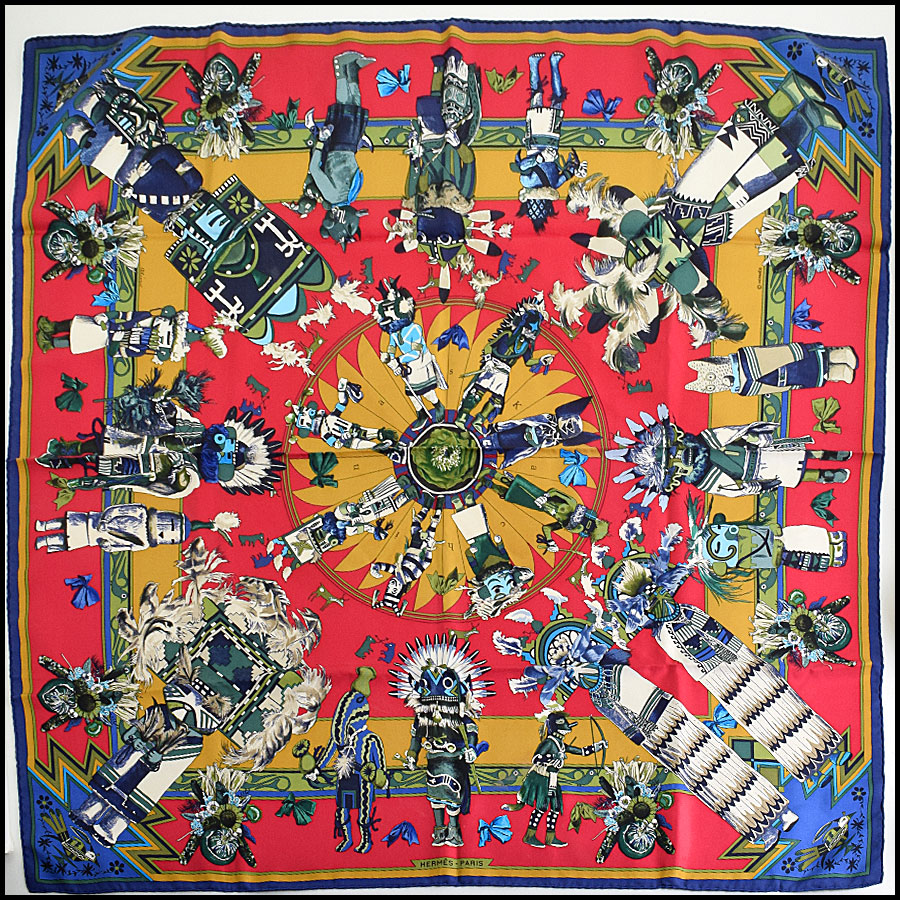 RDC9615 Hermes Navy & Red Kachinas Silk Scarf by Kermit Oliver