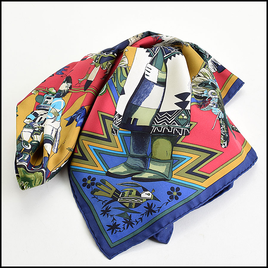 RDC9615 Hermes Navy & Red Kachinas Silk Scarf by Kermit Oliver  fold