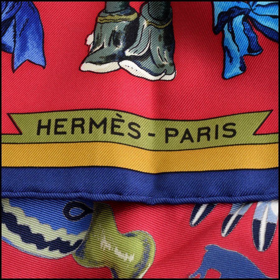 RDC9615 Hermes Navy & Red Kachinas Silk Scarf by Kermit Oliver  logo