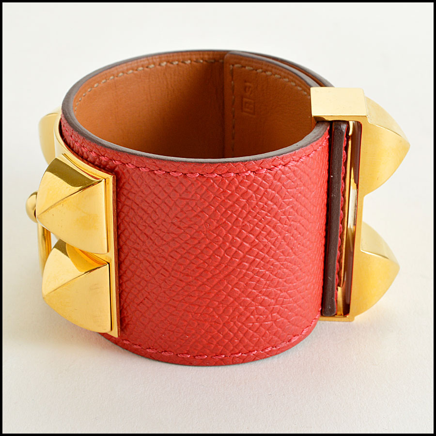 RDC7923 Hermes Red Epsom Leather CDC Cuff side