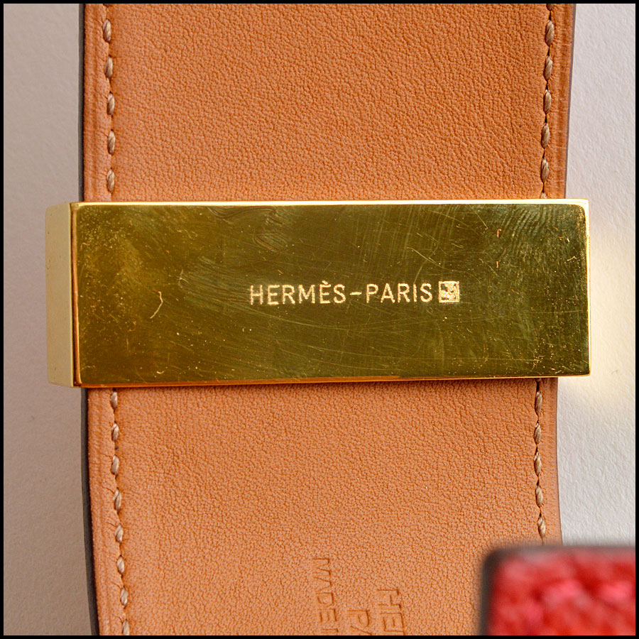 RDC7923 Hermes Red Epsom Leather CDC Cuff tag 1