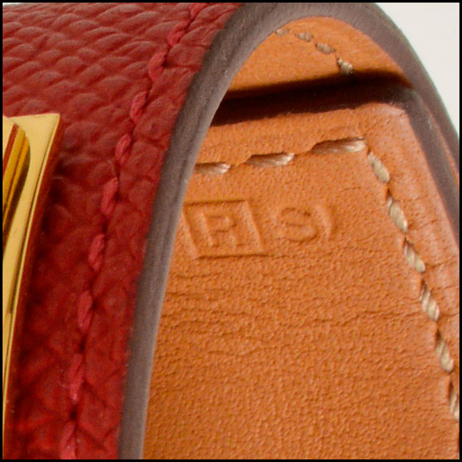 RDC7923 Hermes Red Epsom Leather CDC Cuff tag 3