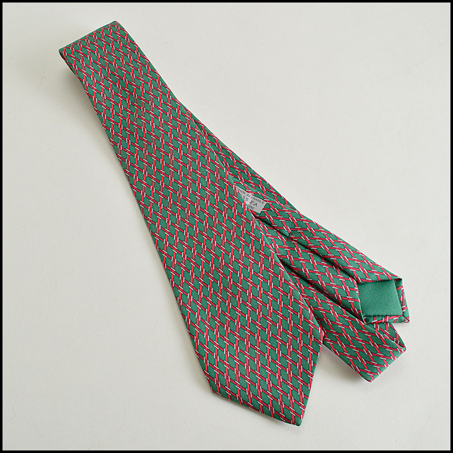 RDC8328 hermes green and red diamond tie