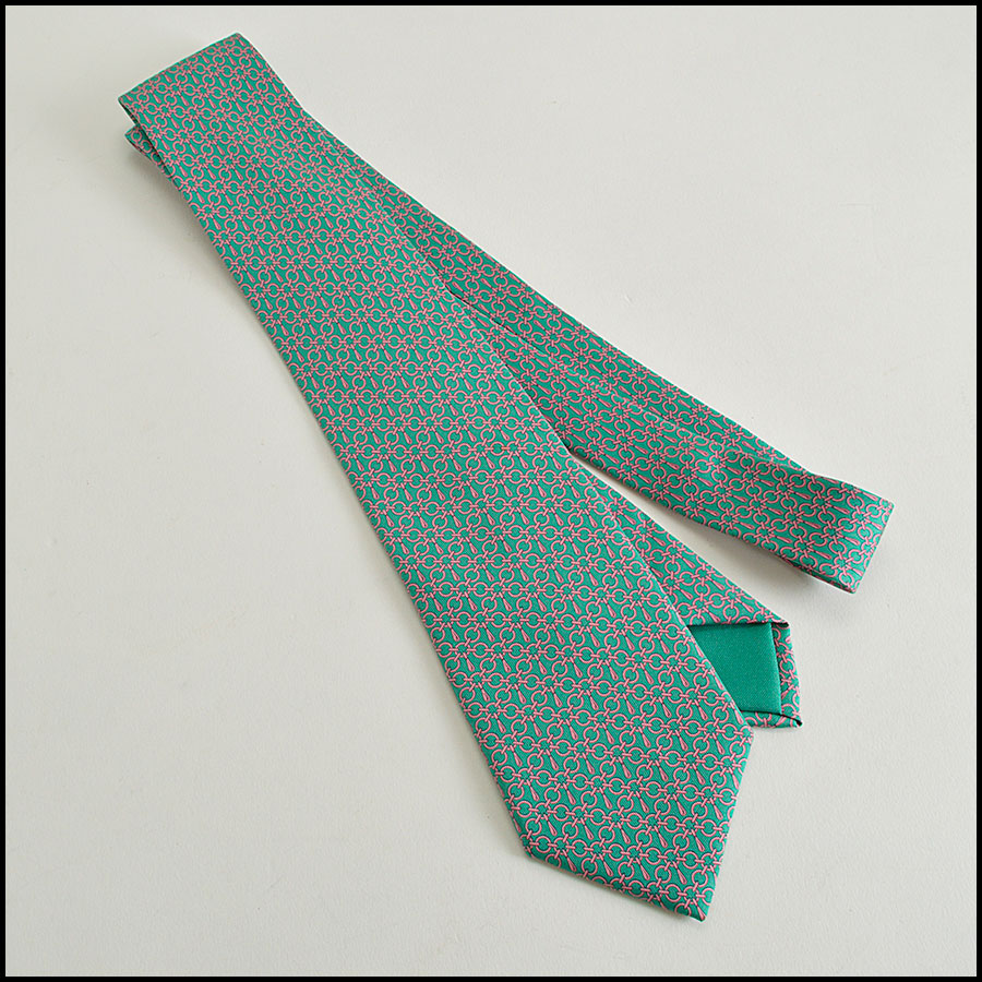 RDC8328 hermes green and salmon chain pattern tie