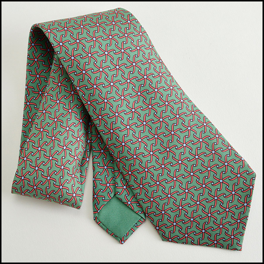 RDC402 hermes red and green pattern tie