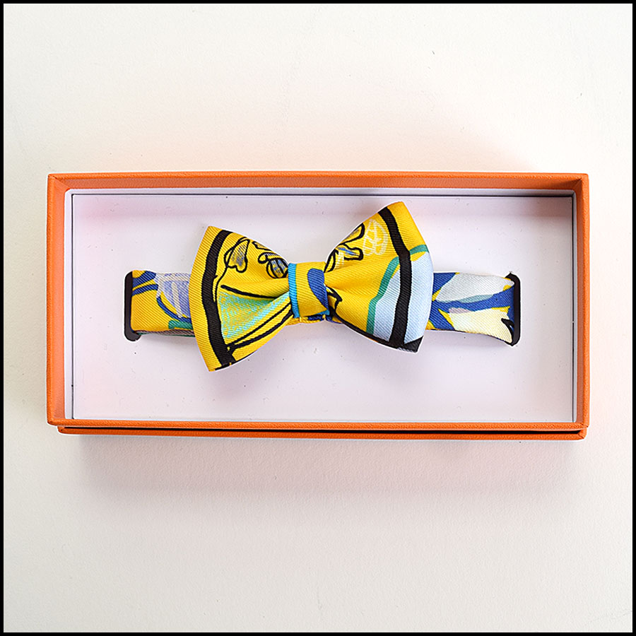 RDC9692 Hermes Yellow Modernisme Tropical Silk Bow Tie