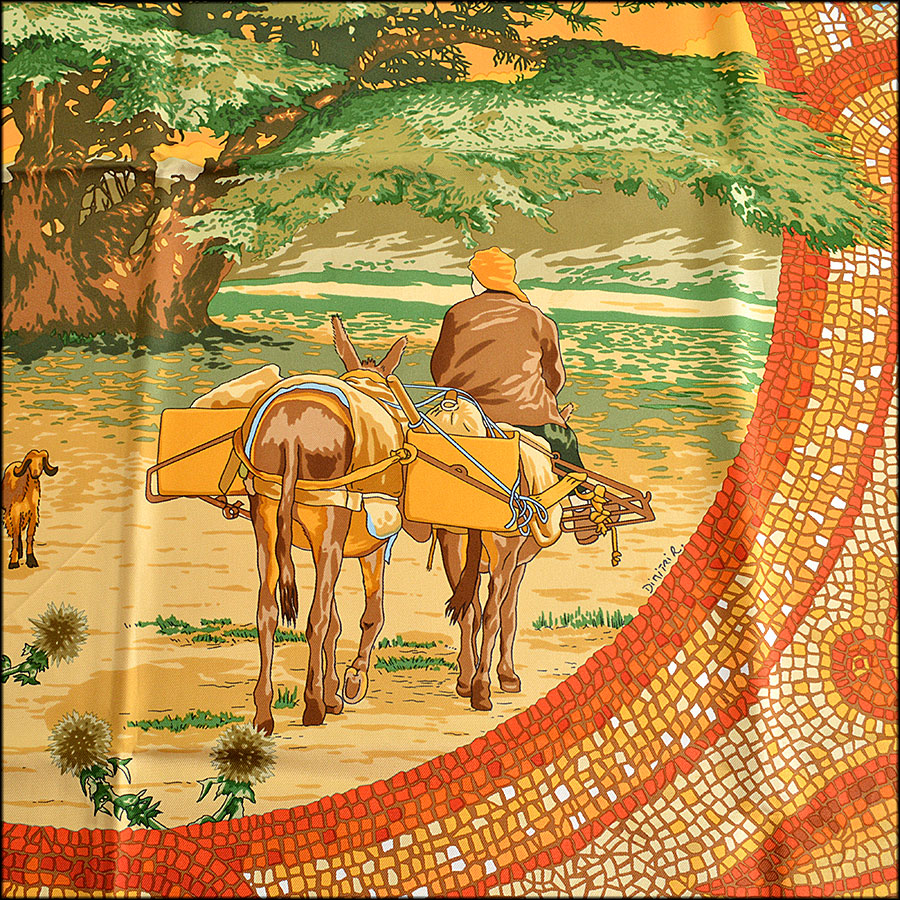 RDC7701 Hermes Sous Le Cedre 90cm Silk Twill Scarf Close up