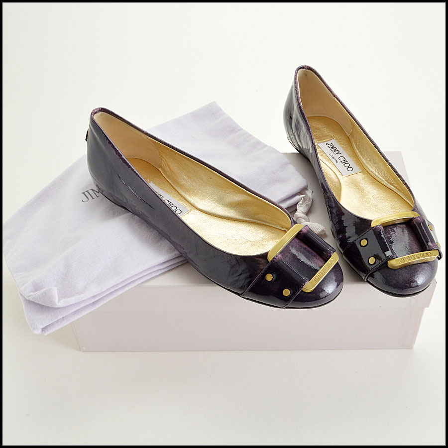 RDC7756 Jimmy Choo Patent Leather Morse Flats comes with