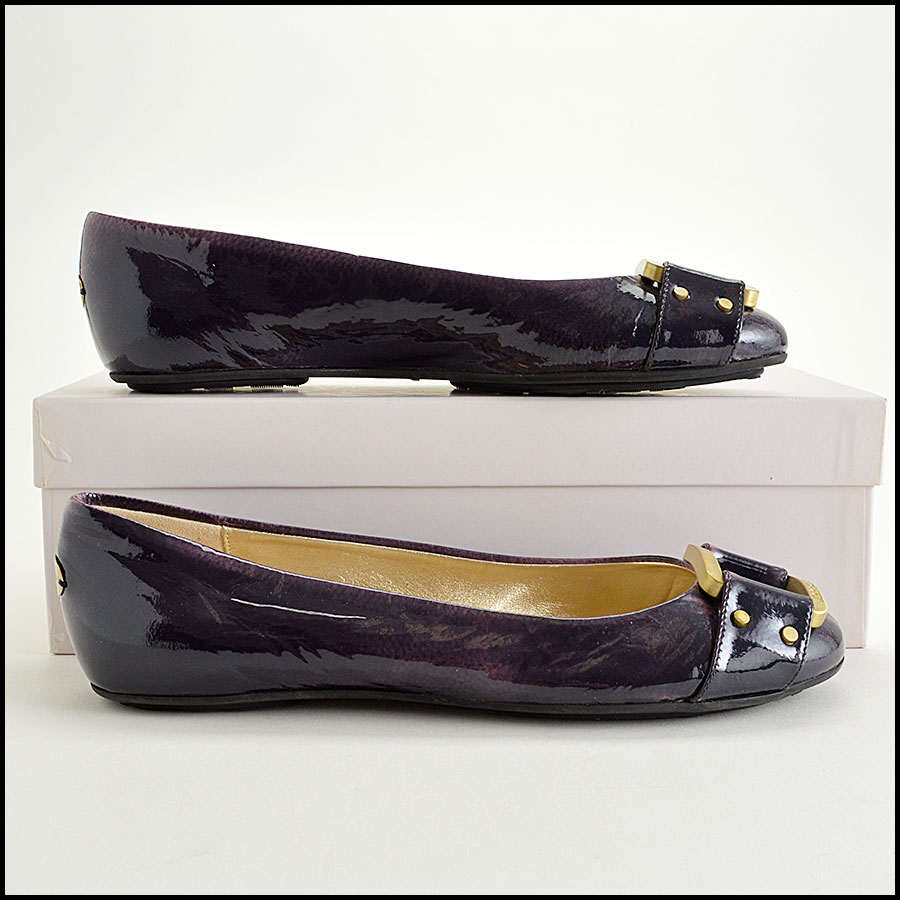 RDC7756 Jimmy Choo Patent Leather Morse Flats Side