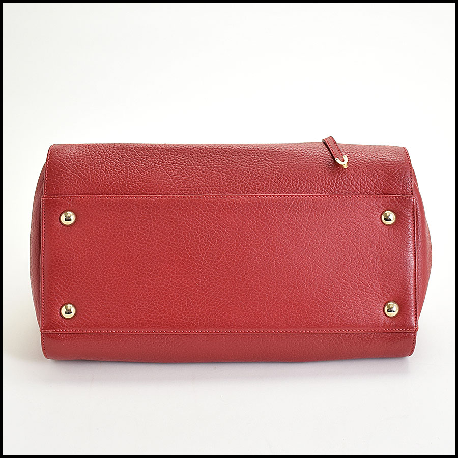 RDC9696 Jimmy Choo Red Calfskin Rosalie Satchel bottom