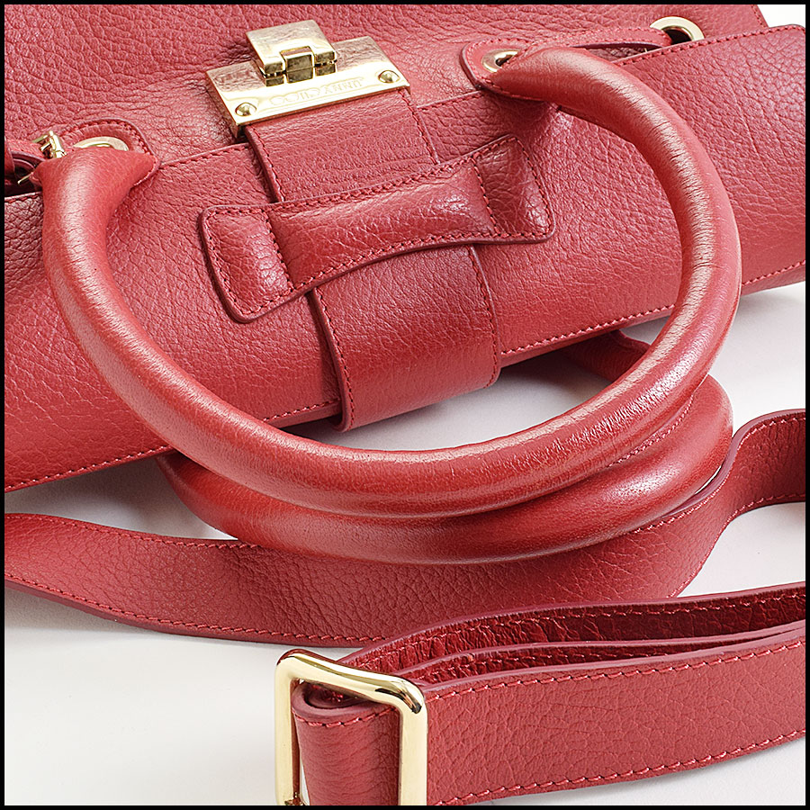 RDC9696 Jimmy Choo Red Calfskin Rosalie Satchel handle