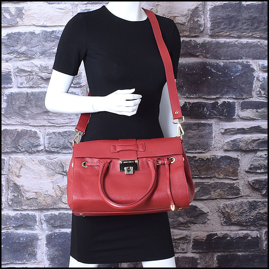 RDC9696 Jimmy Choo Red Calfskin Rosalie Satchel model