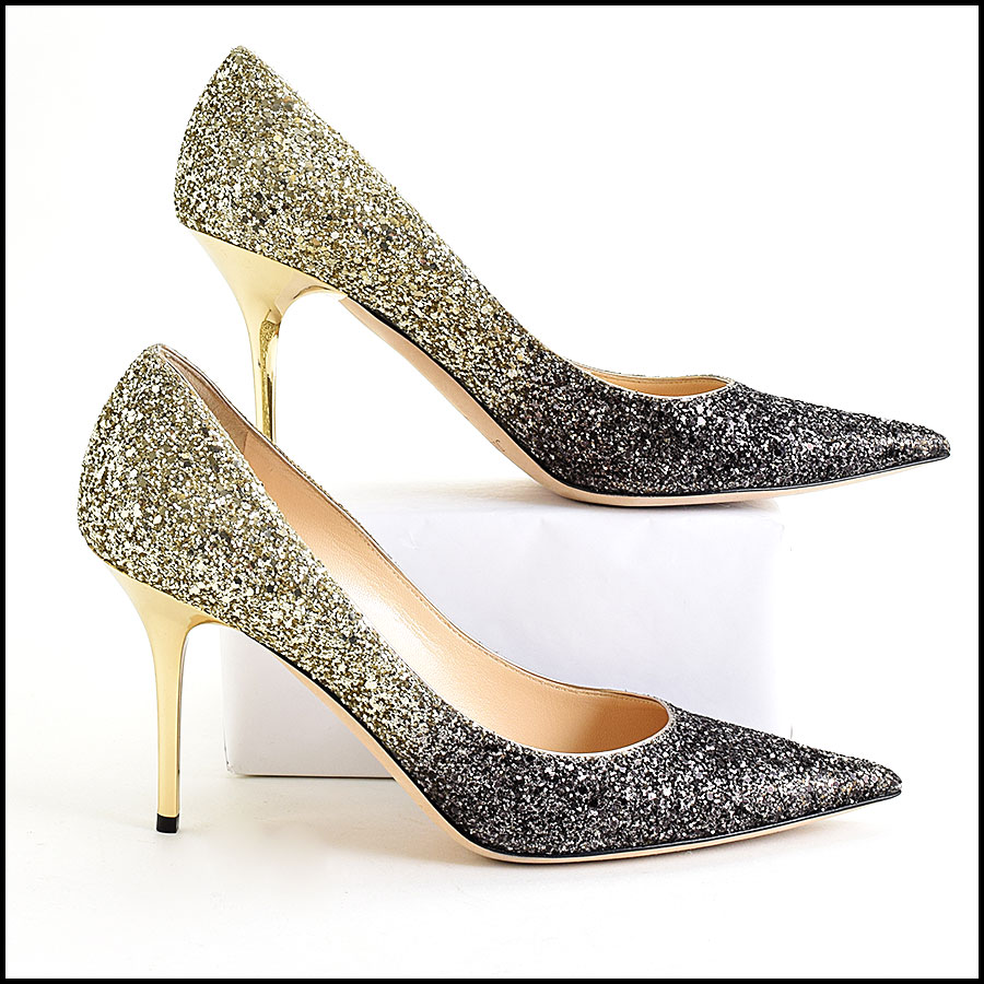 RDC9632 Size 40 Jimmy Choo Black & Gold Ombre Romy Pumps side