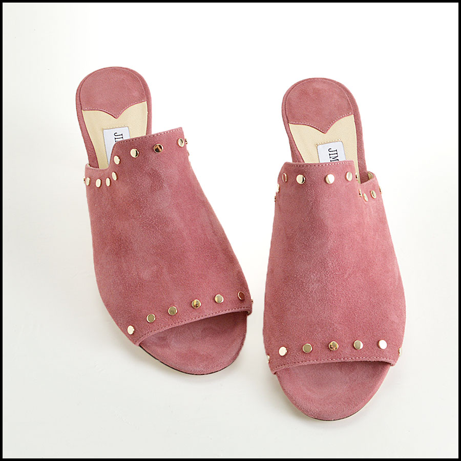 RDC8436 Jimmy Choo Rose Suede Studded Mules