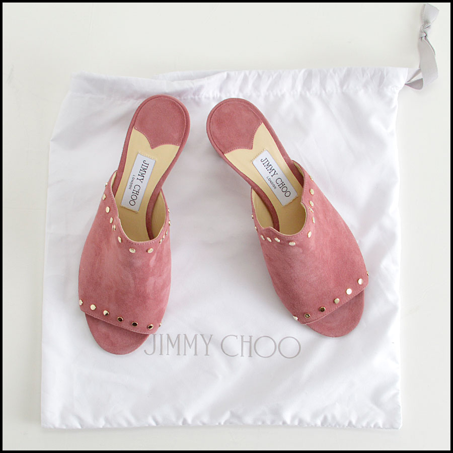 RDC8436 Jimmy Choo Rose Suede Studded Mules extras