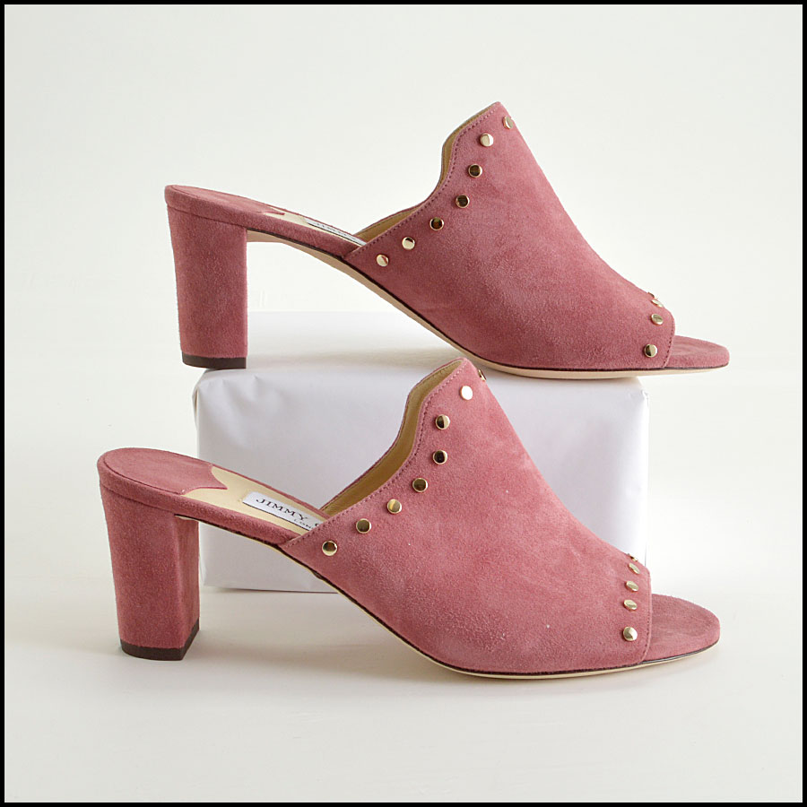 RDC8436 Jimmy Choo Rose Suede Studded Mules side