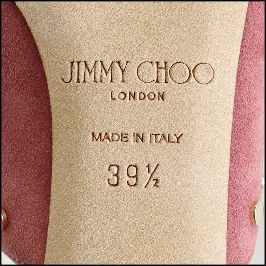 RDC8436 Jimmy Choo Rose Suede Studded Mules tag 1