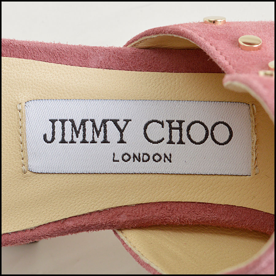 RDC8436 Jimmy Choo Rose Suede Studded Mules tag 2