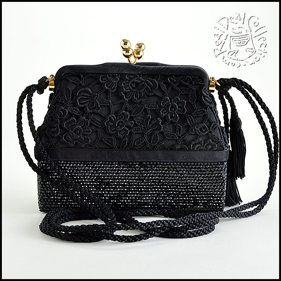 Judith Leiber Jet Black Satin with Lace and Crystal Evening Bag back