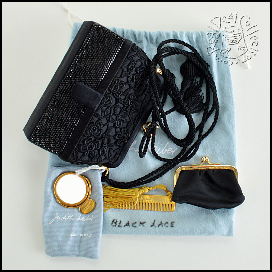 Judith Leiber Jet Black Satin with Lace and Crystal Evening Bag extras