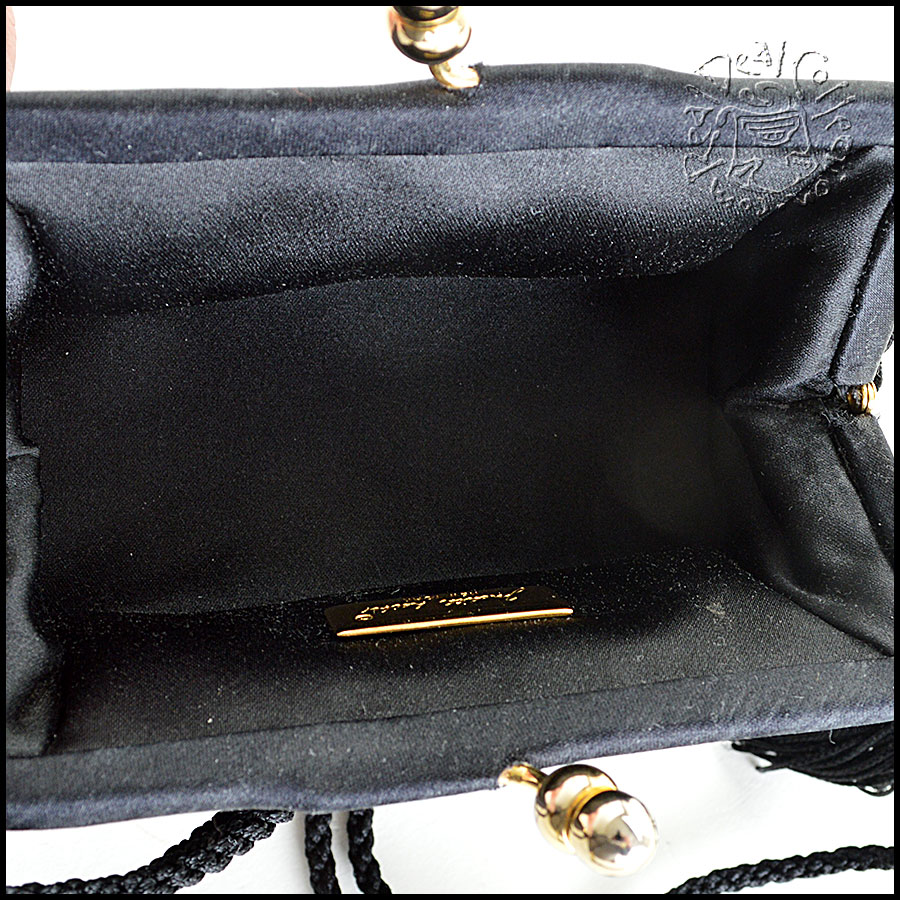 Judith Leiber Jet Black Satin with Lace and Crystal Evening Bag inside2