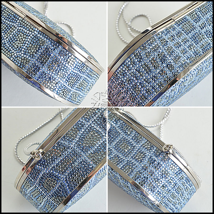 Judith Leiber Blue and Clear Minaudiere corners