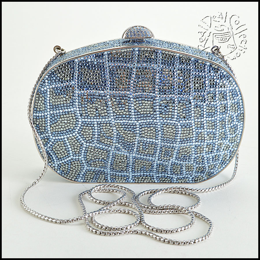 Judith Leiber Blue and Clear Minaudiere back