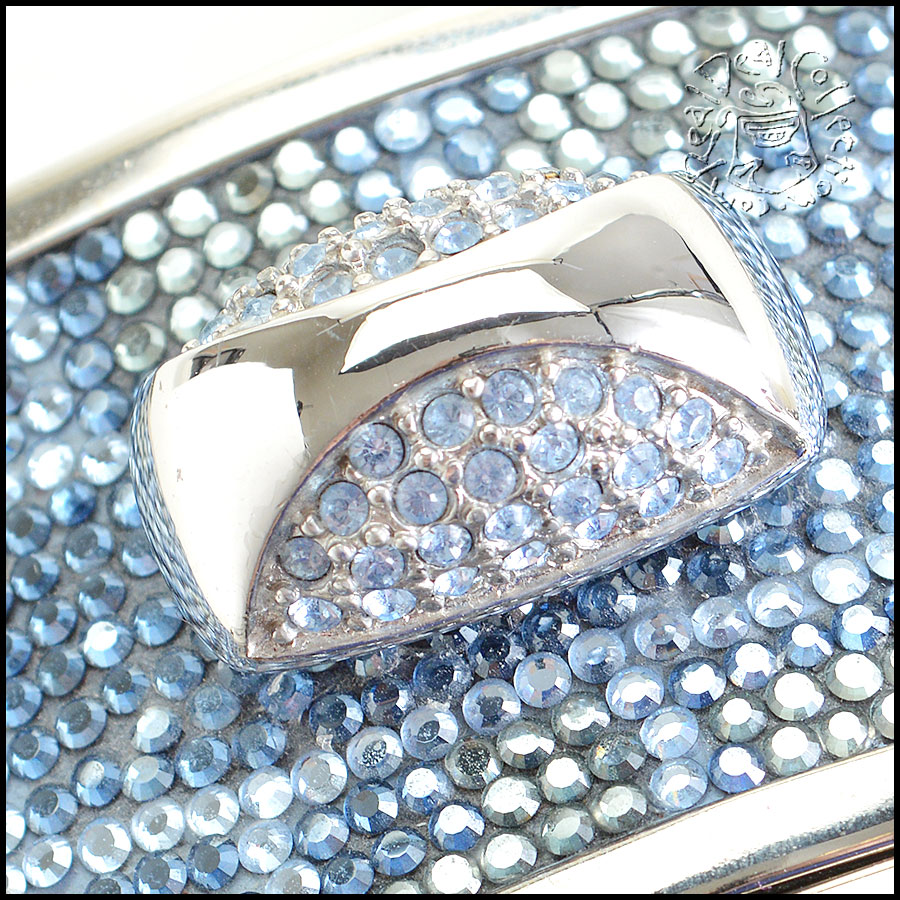 Judith Leiber Blue and Clear Minaudiere closeup