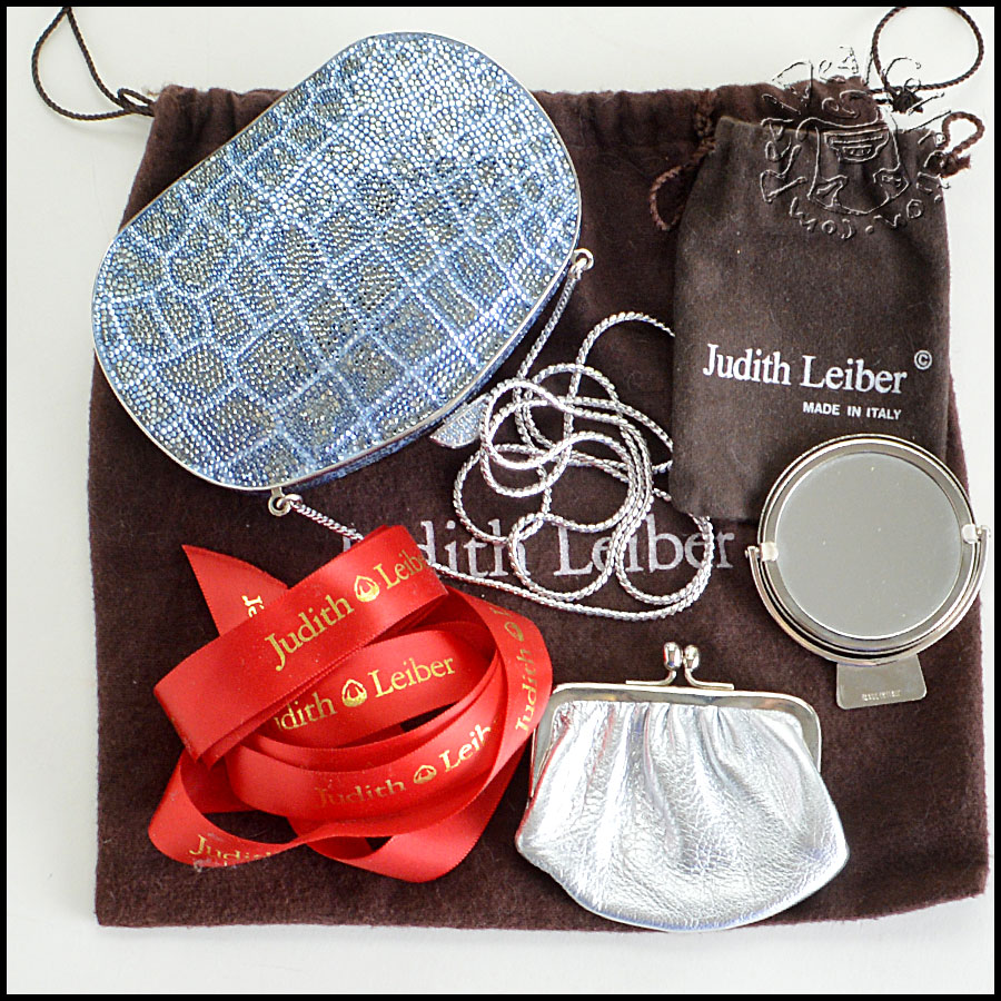 Judith Leiber Blue and Clear Minaudiere extras