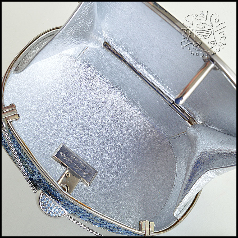 Judith Leiber Blue and Clear Minaudiere inside