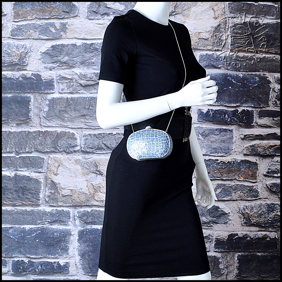 Judith Leiber Blue and Clear Minaudiere mannequin