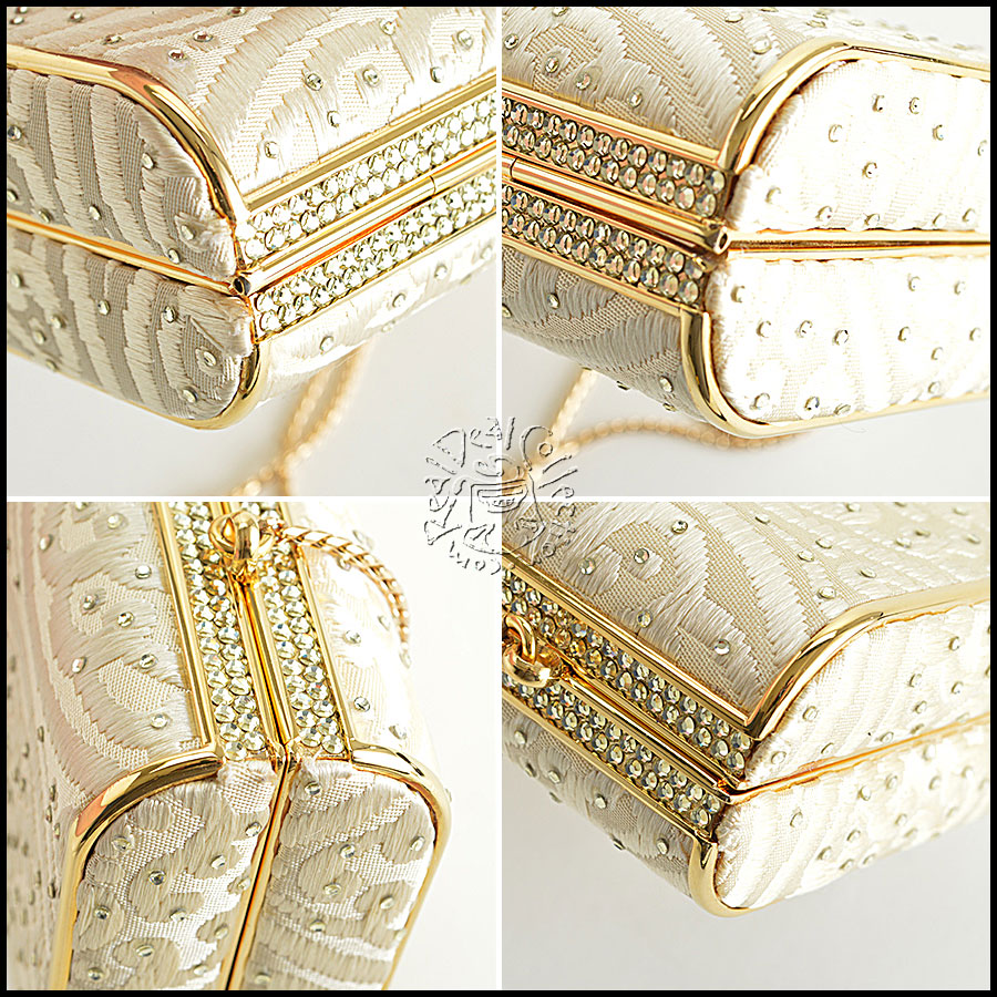 Judith Leiber Champagne Satin with Crystals Evening Bag corners
