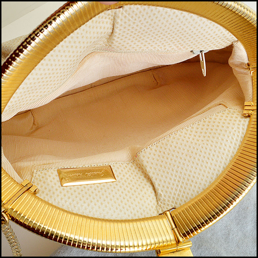 Judith Leiber Vintage Ivory Evening Bag inside