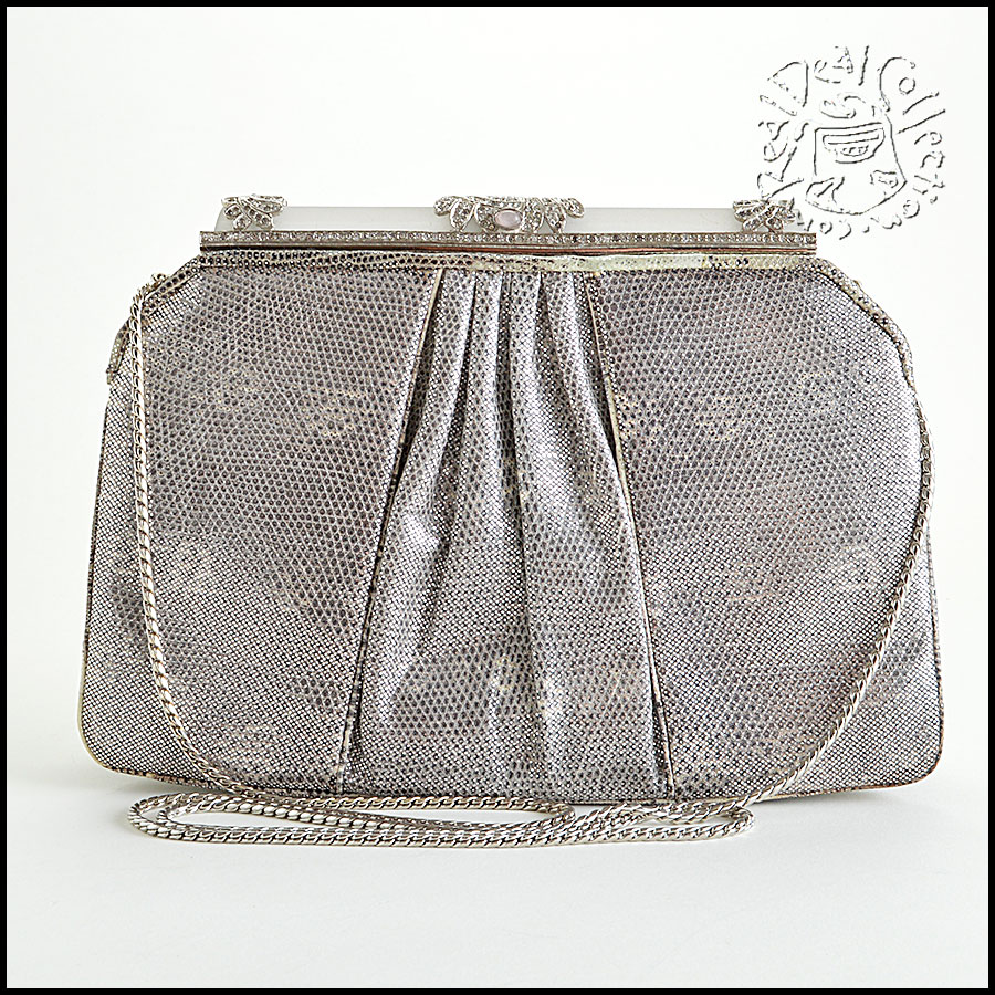 Judith Leiber Silver Ring Lizard Evening Bag image