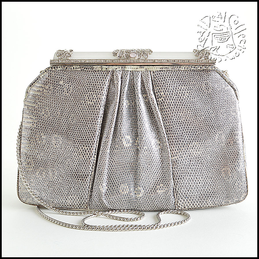 Judith Leiber Silver Ring Lizard Evening Bag back