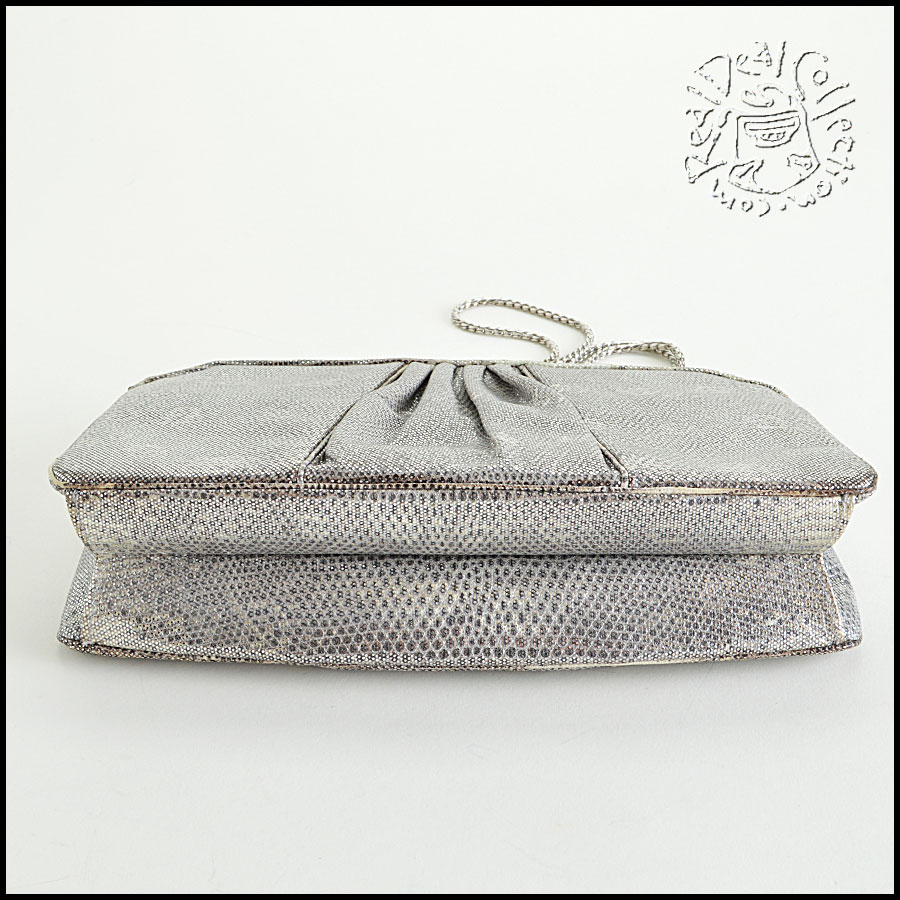 Judith Leiber Silver Ring Lizard Evening Bag bottom
